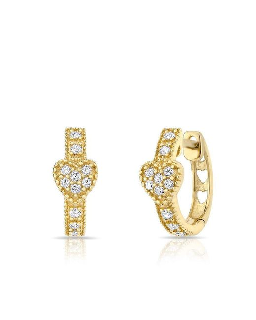 Anne Sisteron - Metallic 14kt Yellow Gold Diamond Heart Huggie Earrings - Lyst