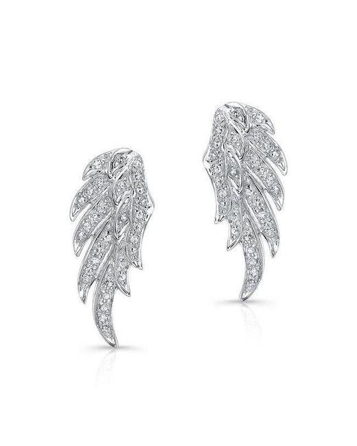Anne Sisteron - Metallic 14kt White Gold Diamond Wing Stud Earrings - Lyst