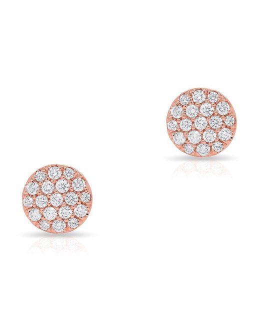 Anne Sisteron Multicolor 14kt Rose Gold Diamond Medium Disc Stud Earrings