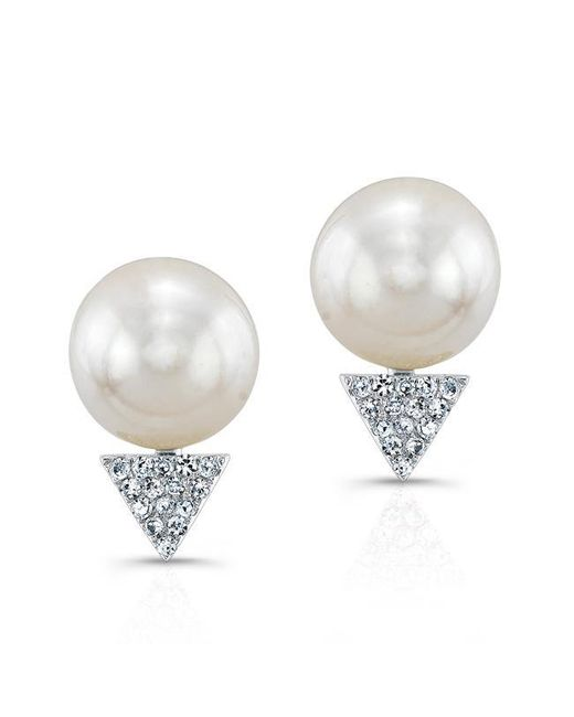 Anne Sisteron - Multicolor 14kt White Gold Pearl Diamond Triangle Stud Earrings - Lyst