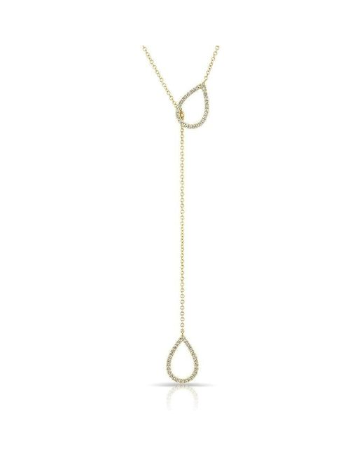 Anne Sisteron | Metallic 14kt Yellow Gold Diamond Open Double Pear Drop Necklace | Lyst