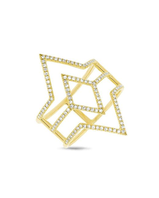 Anne Sisteron - Metallic 14kt Yellow Gold Diamond Open Double Spear Ring - Lyst