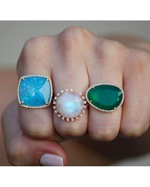 Anne Sisteron Multicolor 14kt Rose Gold Moonstone Sunburst Diamond Cocktail Ring