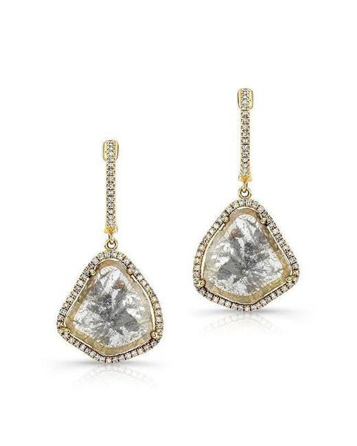 Anne Sisteron   Metallic 14kt Yellow Gold Diamond Slice Organic Earrings   Lyst