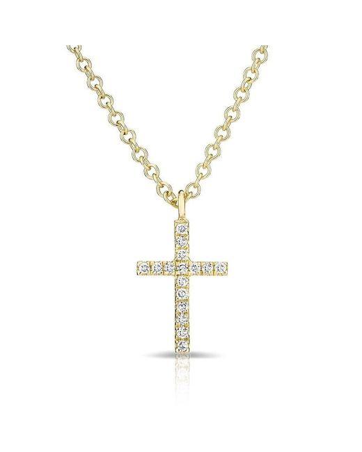 Anne Sisteron Metallic 14kt Yellow Gold Diamond Cross Necklace
