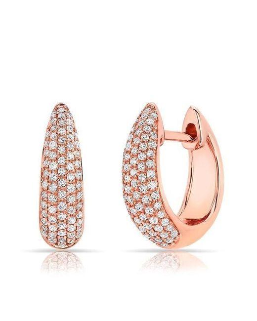 Anne Sisteron - Pink 14kt Rose Gold Diamond Bold Huggie Earrings - Lyst