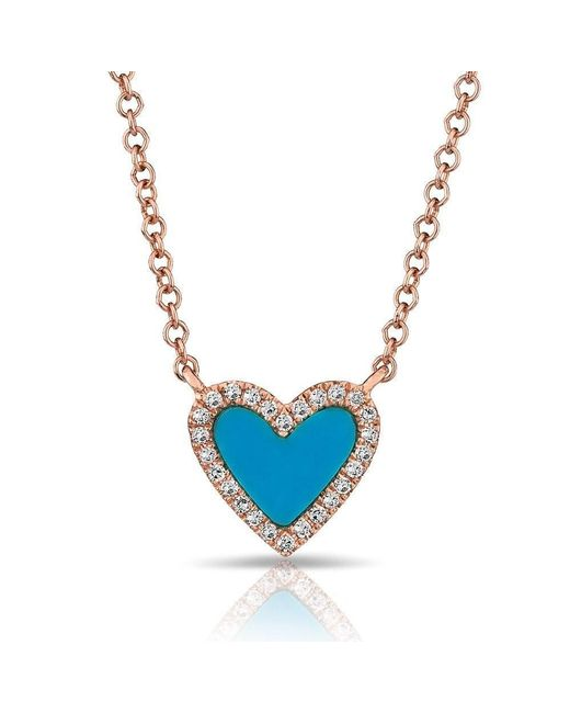 Anne Sisteron - Blue 14kt Rose Gold Turquoise Diamond Heart Necklace - Lyst