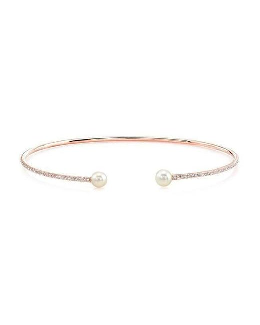 Anne Sisteron - Metallic 14kt Rose Gold Diamond And Pearl Cuff - Lyst