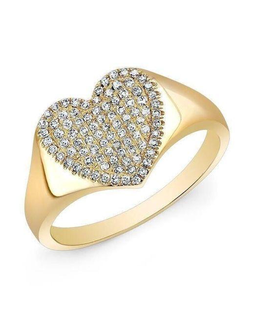 Anne Sisteron Metallic 14kt Yellow Gold Diamond Rachel Heart Ring