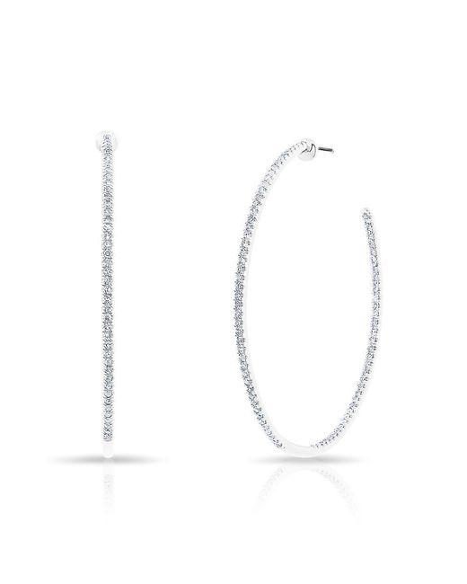 "Anne Sisteron | Multicolor 14kt White Gold Diamond 1 1/2"" Hoop Earrings | Lyst"