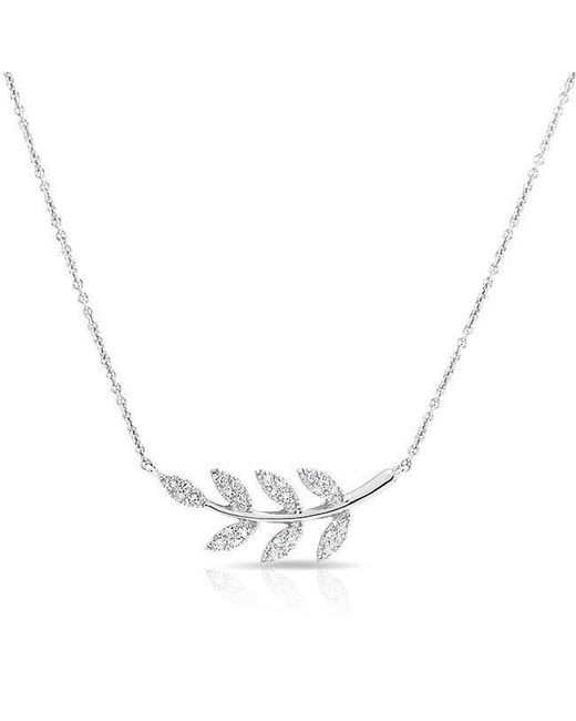 Anne Sisteron - Metallic 14kt White Diamond Branch Crescent Necklace - Lyst