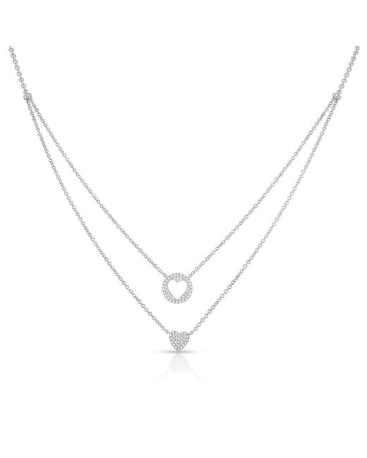 Anne Sisteron - Metallic 14kt White Gold Diamond Heart To Heart Necklace - Lyst