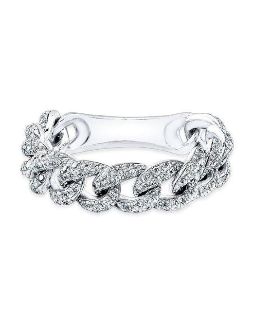 Anne Sisteron - Metallic 14kt White Gold Diamond Thin Chain Link Ring - Lyst