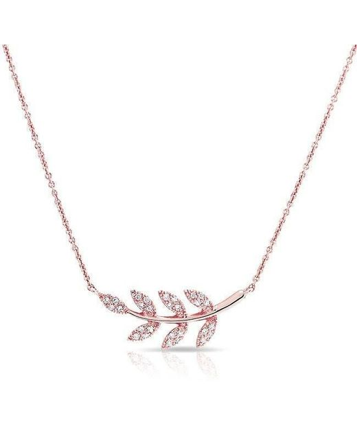 Anne Sisteron - Pink 14kt Rose Diamond Branch Crescent Necklace - Lyst