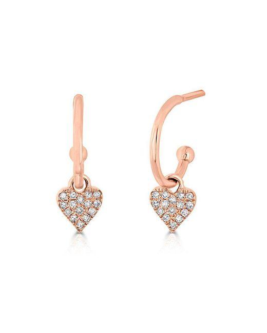 Anne Sisteron Metallic 14kt Rose Gold Diamond Heart Aubrielle Huggie Earrings