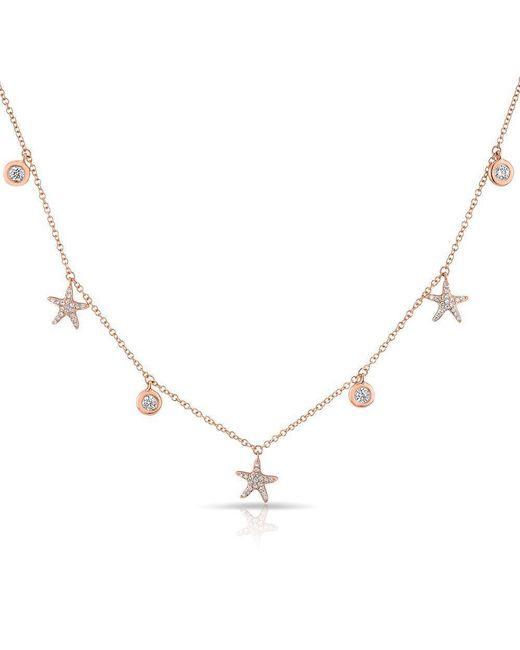 Anne Sisteron - Metallic 14kt Rose Gold Diamond Starfish And Bezel Drop Necklace - Lyst