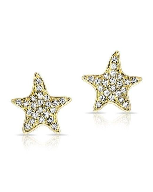 Anne Sisteron - Metallic 14kt Yellow Gold Diamond Starfish Stud Earrings - Lyst