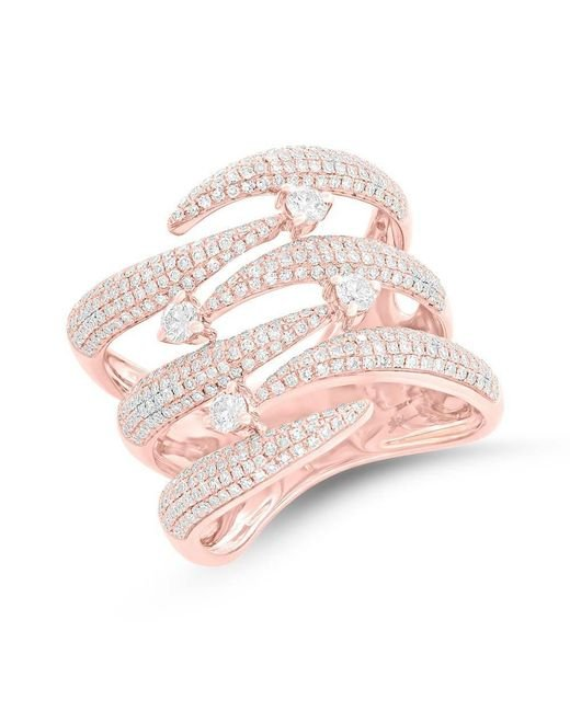 Anne Sisteron - Pink 14kt Rose Gold Diamond Flame Tip Ring - Lyst
