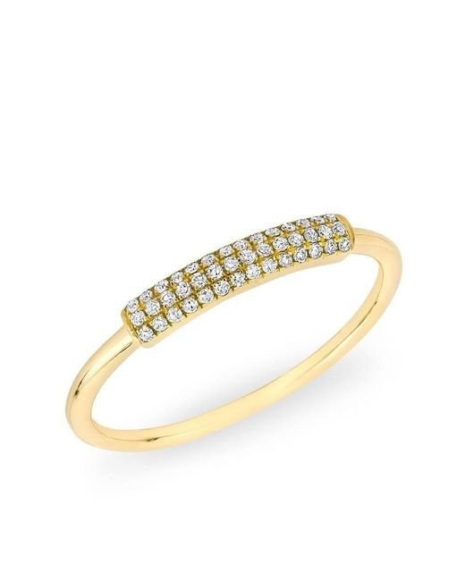 Anne Sisteron - Metallic 14kt Yellow Gold Diamond Rounded Bar Ring - Lyst
