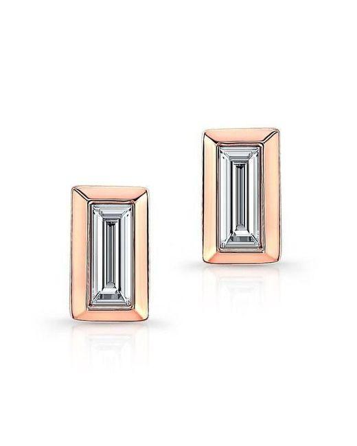 Anne Sisteron | Multicolor 14kt Rose Gold Diamond Single Baguette Bar Earrings | Lyst