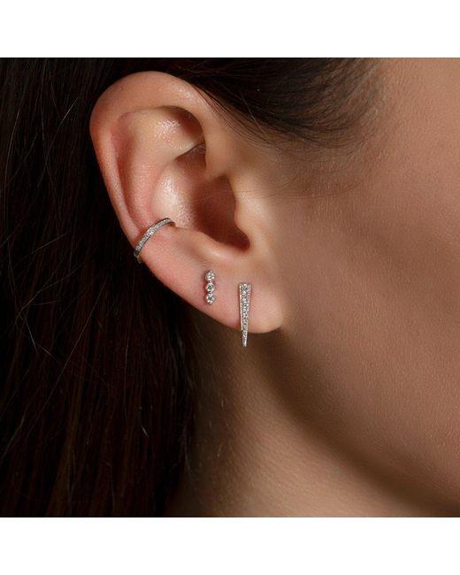 Anne Sisteron Metallic 14kt Yellow Gold Three Diamond Stud Earrings