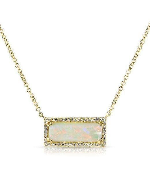 Anne Sisteron - Metallic 14kt Yellow Gold White Opal Diamond Block Necklace - Lyst