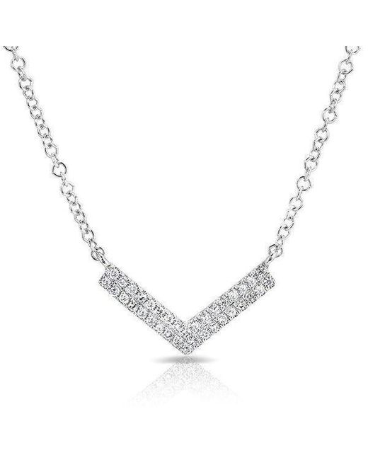 Anne Sisteron - Metallic 14kt White Gold Diamond Mini Chevron Necklace - Lyst