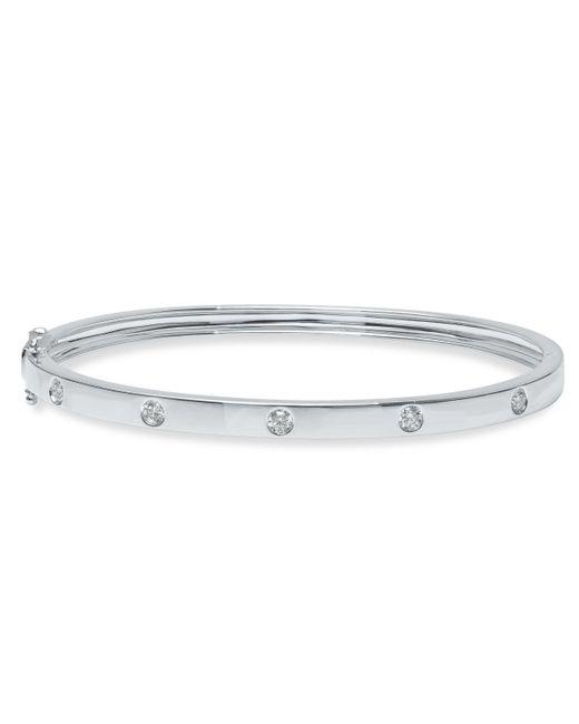 Anne Sisteron - Metallic 14kt White Gold Glisten Half Diamond Bangle Bracelet - Lyst