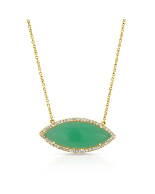 Anne Sisteron Multicolor 14kt Yellow Gold Chrysoprase Marquis Necklace