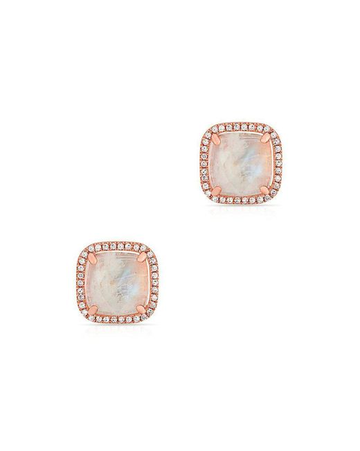 Anne Sisteron - Multicolor 14kt Rose Gold Moonstone Diamond Square Stud Earrings - Lyst