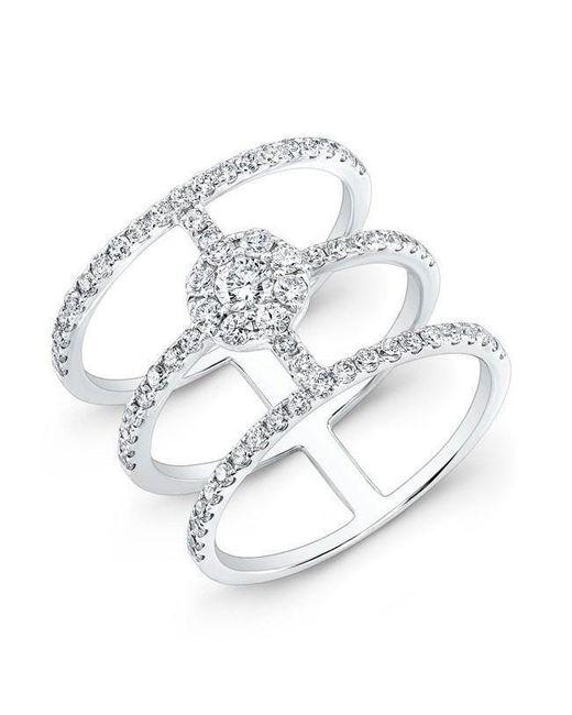 Anne Sisteron - Metallic 18kt White Gold Diamond Fleur Ring - Lyst