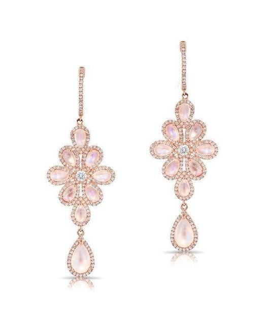 Anne Sisteron | Multicolor 14kt Rose Gold Moonstone Diamond Blossom Chandelier Earrings | Lyst