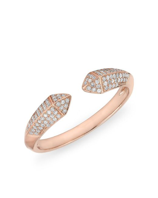 Anne Sisteron - Metallic 14kt Rose Gold Diamond Pyramid Horn Ring - Lyst