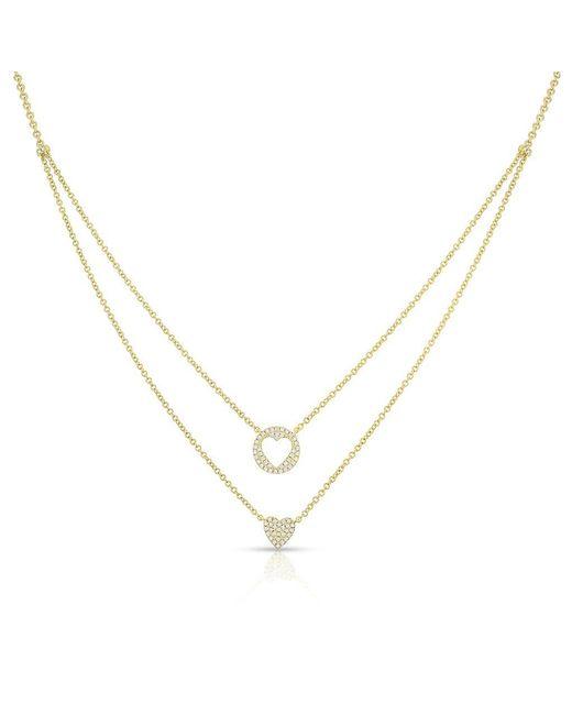 Anne Sisteron - Metallic 14kt Yellow Gold Diamond Heart To Heart Necklace - Lyst