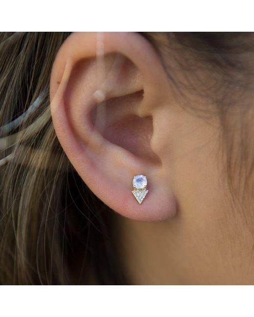 Anne Sisteron Metallic 14kt Rose Gold Moonstone Diamond Maddie Stud Earrings