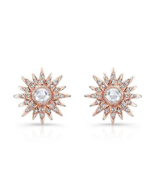 Anne Sisteron   Multicolor 14kt Rose Gold Diamond Vintage Style Starburst Stud Earrings   Lyst