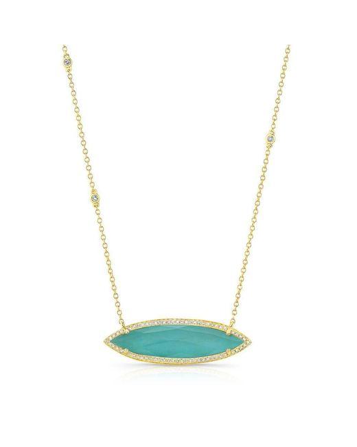 Anne Sisteron   Metallic 14kt Yellow Gold Triple Diamond Chain Turquesa Necklace   Lyst