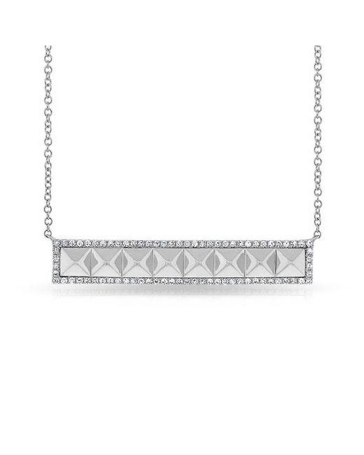 Anne Sisteron Metallic 14kt White Gold Diamond Pyramid Bar Necklace