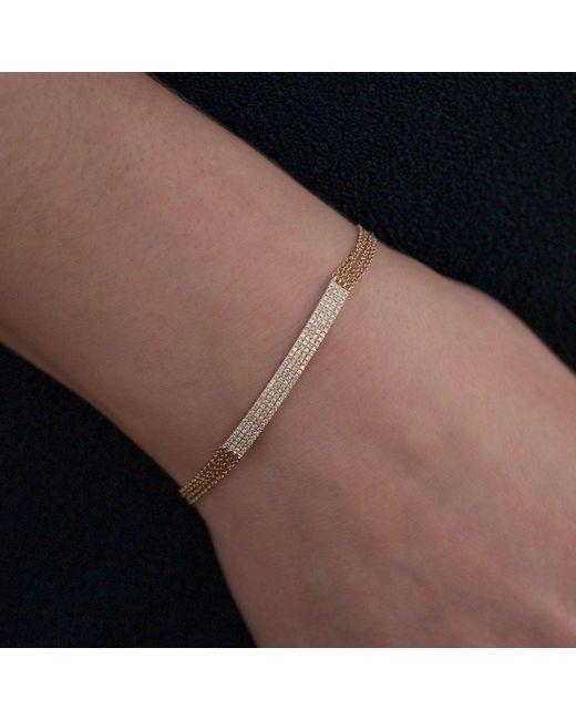 Anne Sisteron Metallic 14kt Yellow Gold Diamond Quadruple Chain Id Bracelet