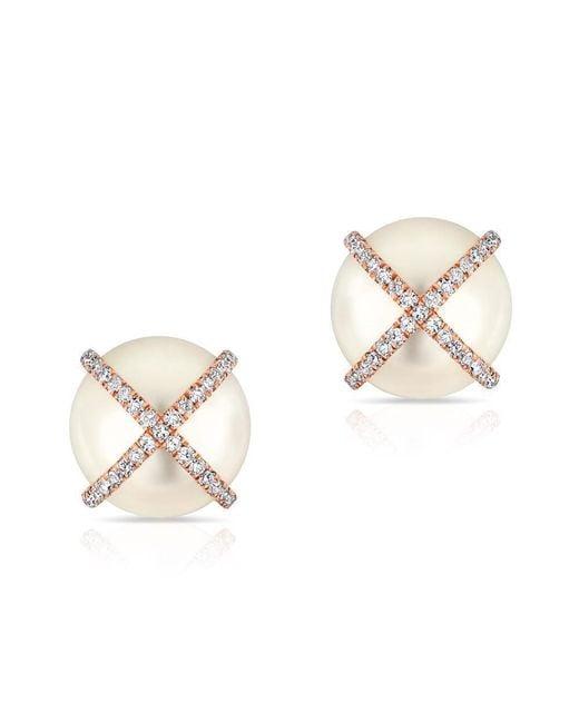 Anne Sisteron - Metallic 14kt Rose Gold Diamond X Pearl Stud Earrings - Lyst