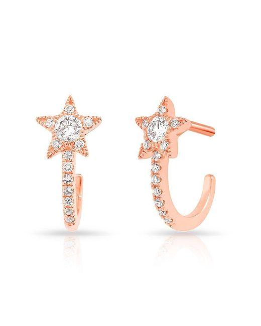 Anne Sisteron - Pink 14kt Rose Gold Diamond Curved Star Huggie Earrings - Lyst