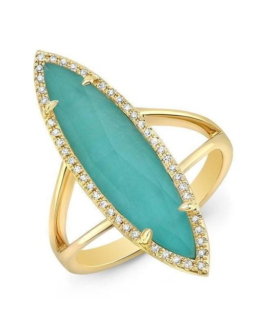 Anne Sisteron - Multicolor 14kt Yellow Gold Diamond Small Turquesa Ring - Lyst