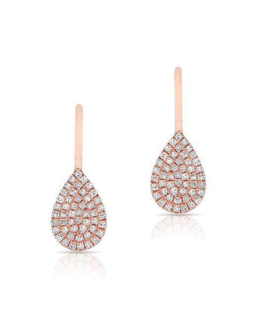 Anne Sisteron   Pink 14kt Rose Gold Diamond Mini Pear Wireback Earrings   Lyst