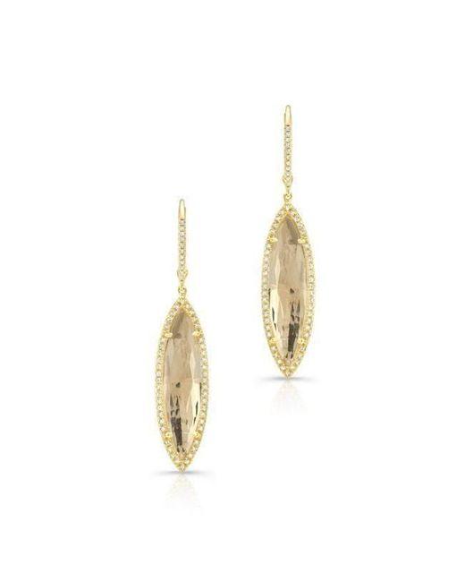 Anne Sisteron - Metallic 14kt Yellow Gold Diamond White Topaz Small Serena Marquis Earrings - Lyst