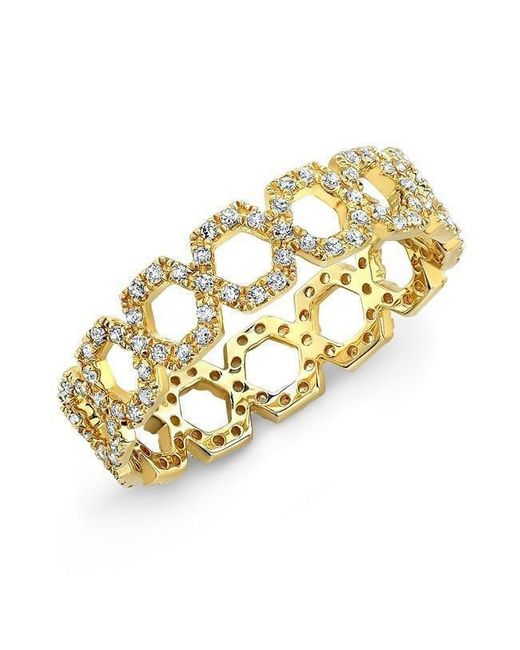 Anne Sisteron - Metallic 14kt Yellow Gold Diamond Mini Lattice Ring - Lyst