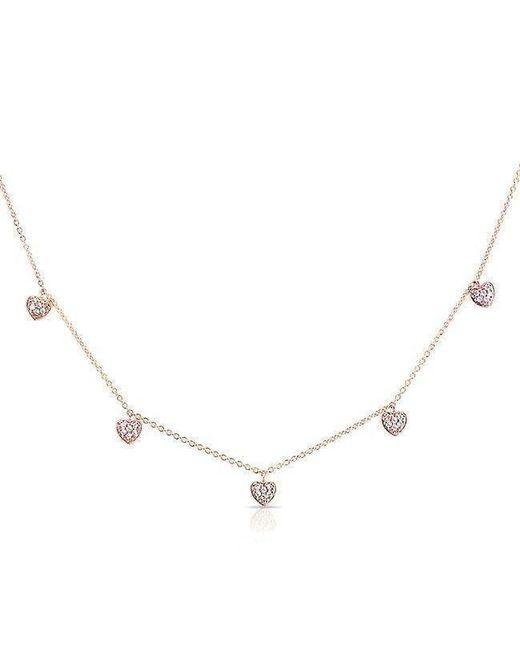 Anne Sisteron - Metallic 14kt Rose Gold Diamond Hearts Necklace - Lyst