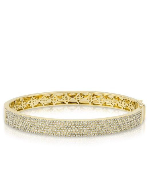 Anne Sisteron Metallic 14kt Yellow Gold Diamond Belle Half Pave Bangle
