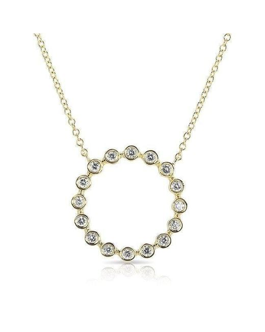 Anne Sisteron - Metallic 14kt Yellow Gold Open Circle Bezel Set Diamond Necklace - Lyst