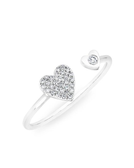 Anne Sisteron | Metallic 14kt White Gold Diamond Double Heart Ring | Lyst