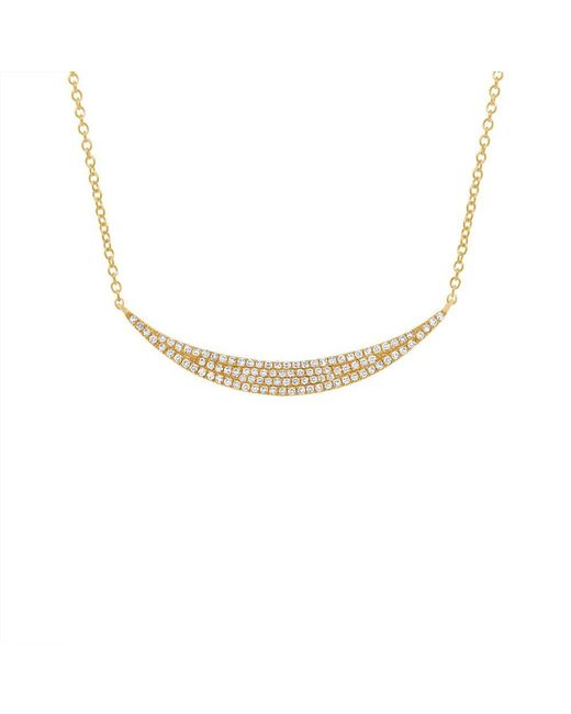 Anne Sisteron - Metallic 14kt Yellow Gold Diamond Wide Crescent Necklace - Lyst